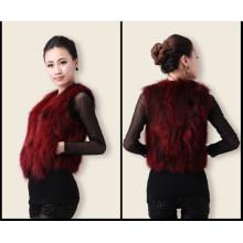 Mulheres venda quente Spring Slim Vest curto, Fox Fur Vest Atacado