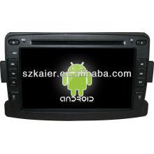 Android System lecteur dvd de voiture pour Renault Duster / Logan avec GPS, Bluetooth, 3G, ipod, jeux, double zone, contrôle du volant