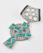 Fashion Alloy Rhinestone Studded Jewelry Accessory Cross Pendant Scarf Clip (SC-3273)