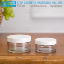 TJ-A-Serie 50g und 100g Verdickung einwandige kostengünstige Kosmetikverpackungen klar flache Runde Haustier Gläser