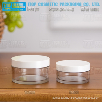 TJ-A Series 50g and 100g thickening single wall cost effective cosmetics packaging clear flat round pet jars