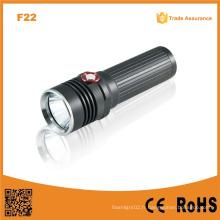 F22 Réglage automatique de la luminosité Xm-L U2 LED Rechargeable Black Camp Aluminium Tactical LED Powerful Flashlight