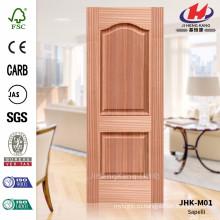 JHK-M01 Выпуклая текстура Прямая линия 16.8мм Глубина Классическая африканская панель Sapelli Natural Veneer Door