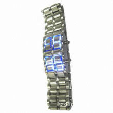 Silver Iron Samurai LED Watch with Volcanic Lava, LED Movement with Blue Light