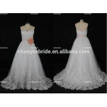 -Линии Cap рукавом бисероплетение идеальный Сучжоу Золушка свадебное платье Сделано в Китае