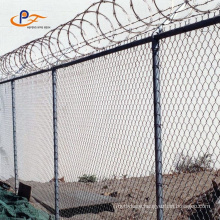 River sidewalk protection chain link fence construction