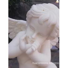 Pure white marble angle statue