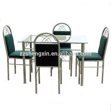 Steel Tube Dining Room Set Rectangular Glass Top Dining Tables Set