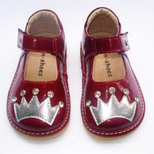 Patent Leather Toddler Girl Squeaky Shoes with Sliver Crown&Shining Stones