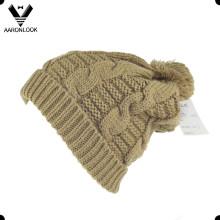 Inverno quente cabo malha Bobble Ski Hat