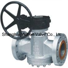 Caja de engranajes Inversión de presión equilibrada Brida lubricada Plug Valve (AX47W)