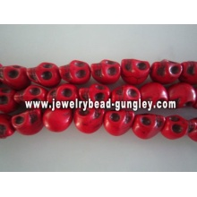 Howlite skull beads - dark red