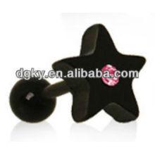 Rosa cristal preto estrela tragus cartilagem orelha brinco