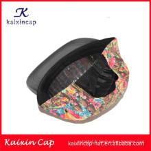2015 promotion de haute qualité fleurs colorées impression couronne et noir bord en cuir 5 panneaux de camping cap
