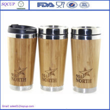 16oz Eco-Friendly Bamboo Mug and Bamboo Coffee Mug or Tumbler and Double Wall Bamboo Travel Mug with Laser Logo