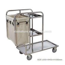 3 Lavanderia Chromed Metal Frame Quadro de lavagem com rodas \ Home Canvas Washing Basket Chart