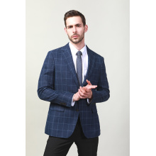 MEN'S NAVY CHECK SUIT JACKET