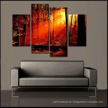 Pintura barata del bosque de la salida del sol, impresión sin marco, sistema de 4