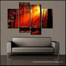 Cheap Sunrise Forest Painting, Frameless Print,Set of 4