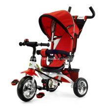 Triciclo de los cabritos del lujo del color rojo con el pabellón (TR906-3EVA ROJO)