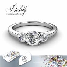 Destino joyería cristal Swarovski tres piedra brillante anillo de
