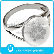 Edelstahl Feuerbestattung Urn Keepsake Pet Ring Memorial Dog Pfotenabdruck Feuerbestattung Ring