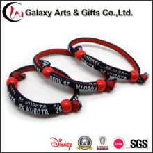 Pulsera tejido profesional personalizadas pulseras bordadas Festival de bandas de muñeca de cuerda redonda