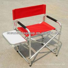 Chaise réalisateur de portable aluminium extérieure avec table d'appoint.