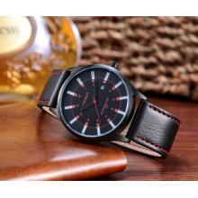 мода унисекс наручные часы черный IP покрытием, Кожаный ремешок