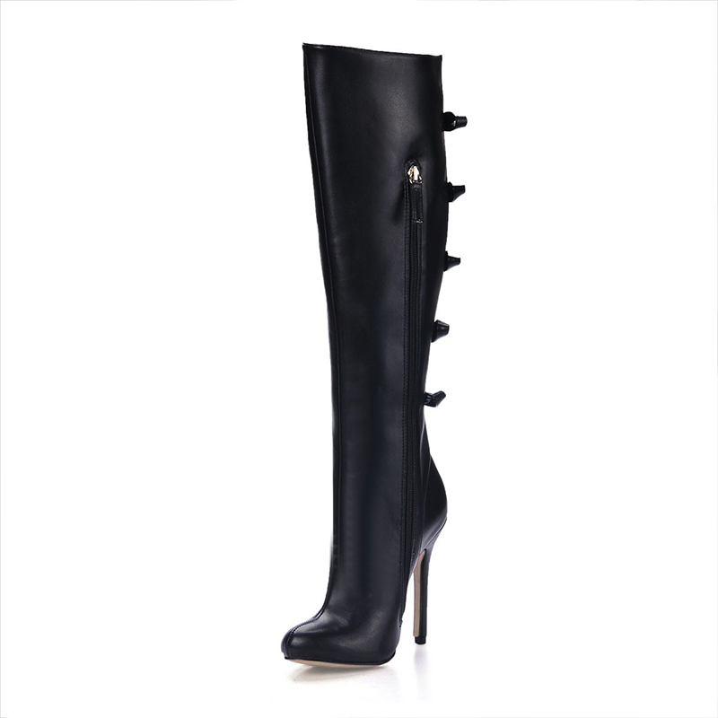 leather winter black mid-calf boots for women