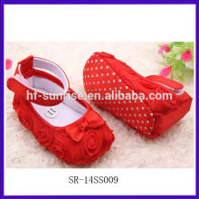 SR-14SS009 new stylish fashion wholesale baby shoes red rose cloth cheap baby shoes flat cute import baby shoes china