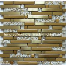 Carrelage en verre doré, Mosaïque en métal mélangé pour carreaux de fond de cuisine (SM237)