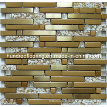Strip Gold Glass Tile, Mixed Metal Mosaic for Kitchen Backsplash Tile (SM237)