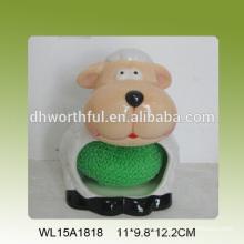 2016 más nuevo titular de esponja de cerámica en forma de ovejas