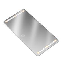 Novo espelho de maquiagem com luz LED de cor ajustável