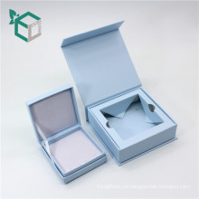 cierre magnético de color azul Ring Box Jewelry Embalaje con tapa de inserción de caja pequeña