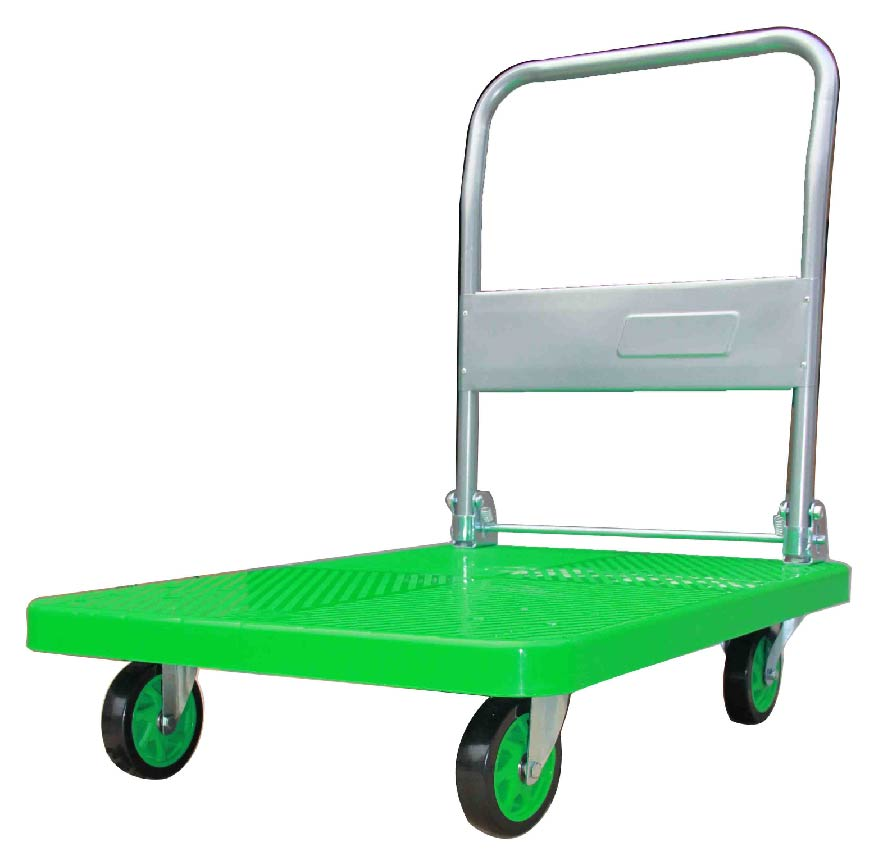 300kgs Plastic Platform Folding Hand Trolley Green