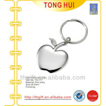 Blank silver apple shape pendant keyrings metal