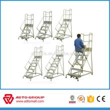 Escalera de plataforma de aluminio móvil, escalera de aluminio, escalera de aluminio móvil para rack de almacenamiento
