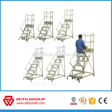 Mobile aluminum platform stair, aluminium stair, movable aluminum ladder for storage rack