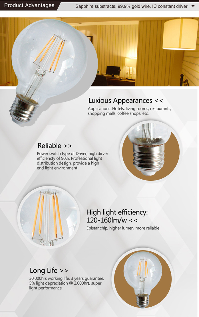 G80 LED Filament Edison Glass Bulbs light Dimmable E27