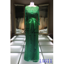 Элегантный Империи Талии Платье Исламская Платье Зеленый Длинные Рукава Макси Платье Дамы