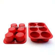 Hot Selling 6 Cups FDA Food Grade Hitzebeständige Antihaft-Küche Kochen Bakeware Muffin Form Silikon Muffin Kuchen Pan