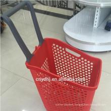 Four Wheels Supermarket Plastic Basket