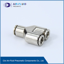 Air-Fluid Brass Nickel-Plated Equal Y Push to Connector