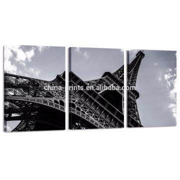 Ilustraciones de la impresión de la imagen de la torre Eiffel / arte blanco y negro de la pared de la lona de la señal de París / pintura de la lona del paisaje urbano Venta al por mayor