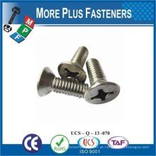 Fabricado em Taiwan ISO 7046 Philips Cabeça lisa Contrabalançado Grau 4 8 Aço carbono Aço zincado