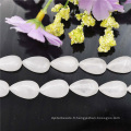Perles Agate blanc ivoire Drop AAA