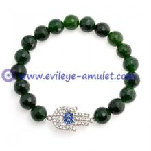 Green Bead Evil Eye Hamsa Stretch Bracelet 6 Inch