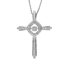 Fashion Jewelry Cross 925 Silver Dancing Diamond Pendants Necklace